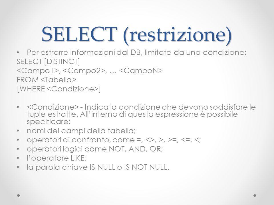 SELECT (restrizione) Per estrarre informazioni dal DB, limitate da una condizione: SELECT [DISTINCT]